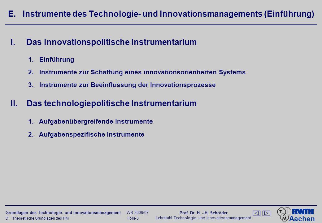 Das innovationspolitische Instrumentarium nach Corsten