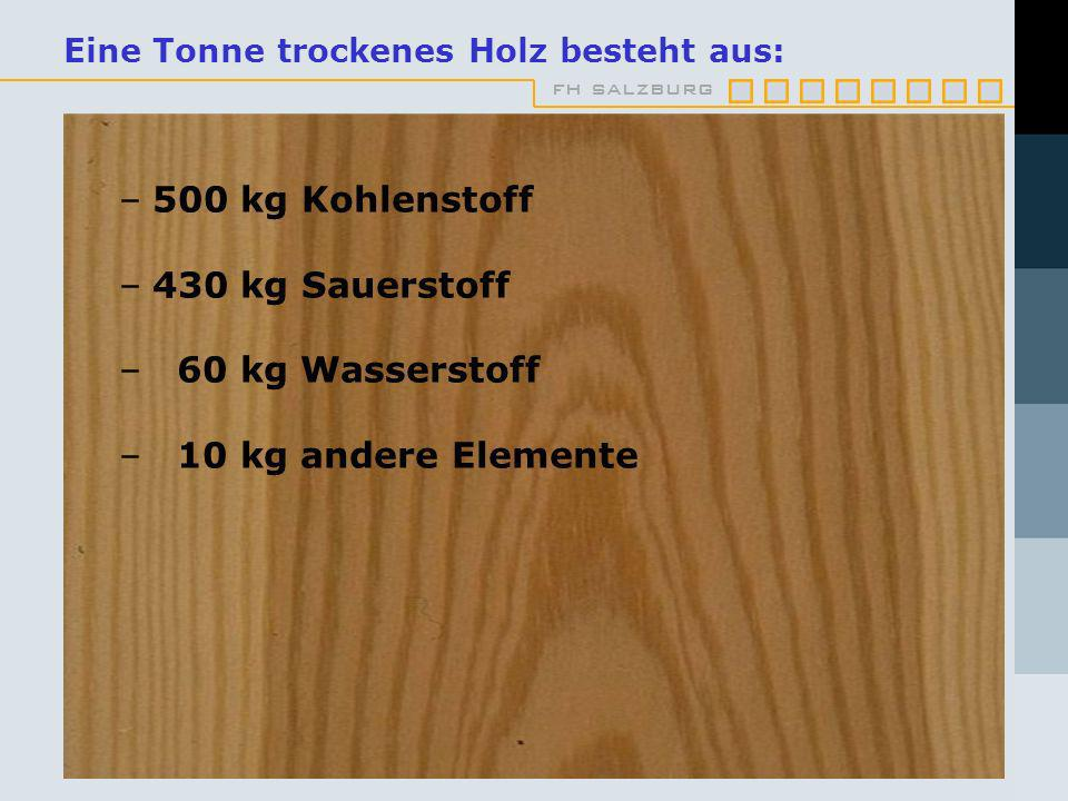 Eine Tonne trockenes Holz besteht aus: