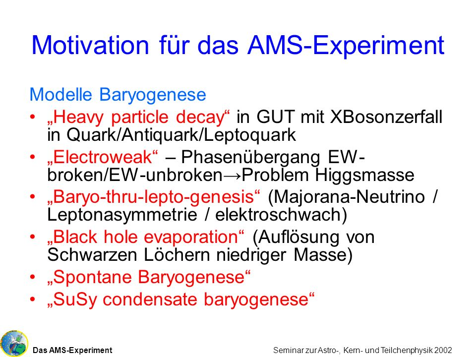 Motivation für das AMS-Experiment