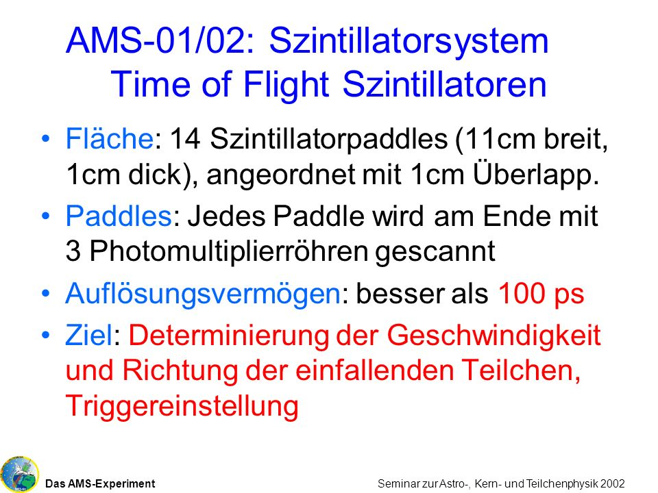 AMS-01/02: Szintillatorsystem Time of Flight Szintillatoren