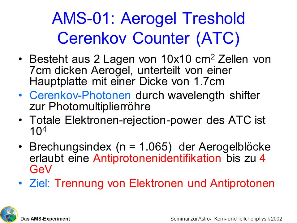 AMS-01: Aerogel Treshold Cerenkov Counter (ATC)