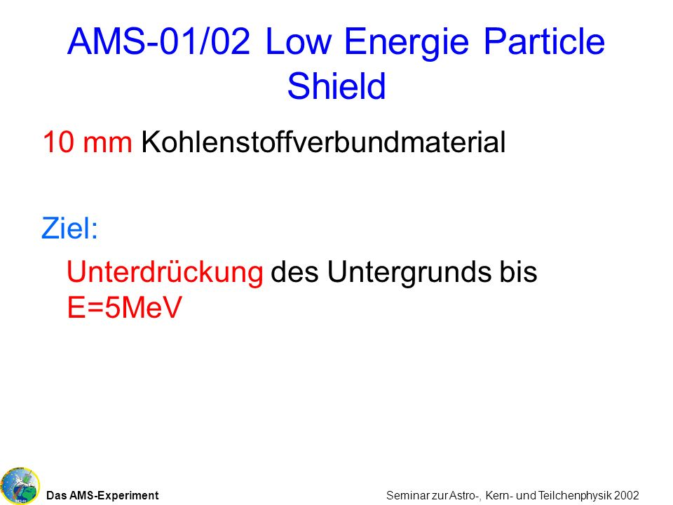 AMS-01/02 Low Energie Particle Shield