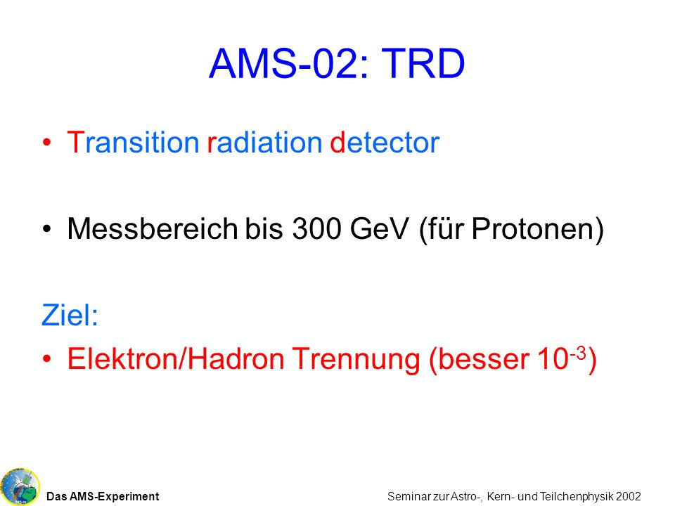 AMS-02: TRD Transition radiation detector