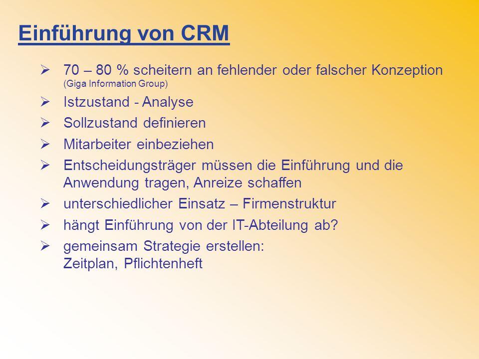 Einführung von CRM 70 – 80 % scheitern an fehlender oder falscher Konzeption (Giga Information Group)