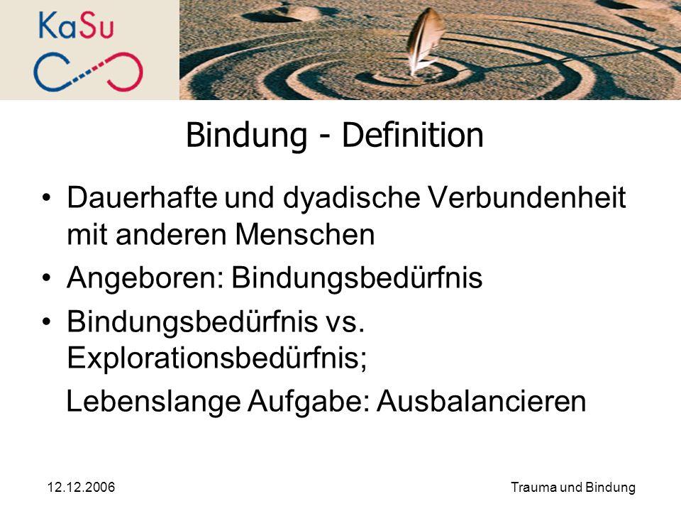 Bindung - Definition Dauerhafte und dyadische Verbundenheit mit anderen Menschen. Angeboren: Bindungsbedürfnis.