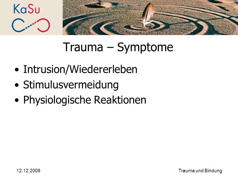 Trauma – Symptome Intrusion/Wiedererleben Stimulusvermeidung