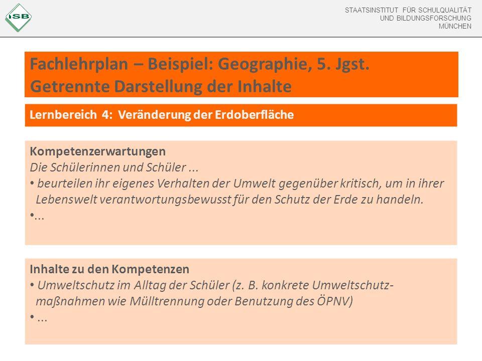 Fachlehrplan – Beispiel: Geographie, 5. Jgst
