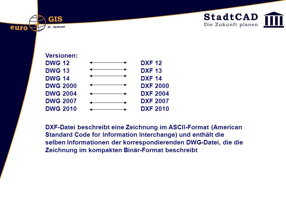 Versionen: DWG 12 DXF 12. DWG 13 DXF 13. DWG 14 DXF 14. DWG 2000 DXF 2000. DWG 2004 DXF 2004.