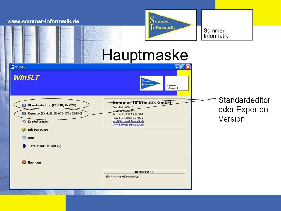 Hauptmaske Standardeditor oder Experten-Version