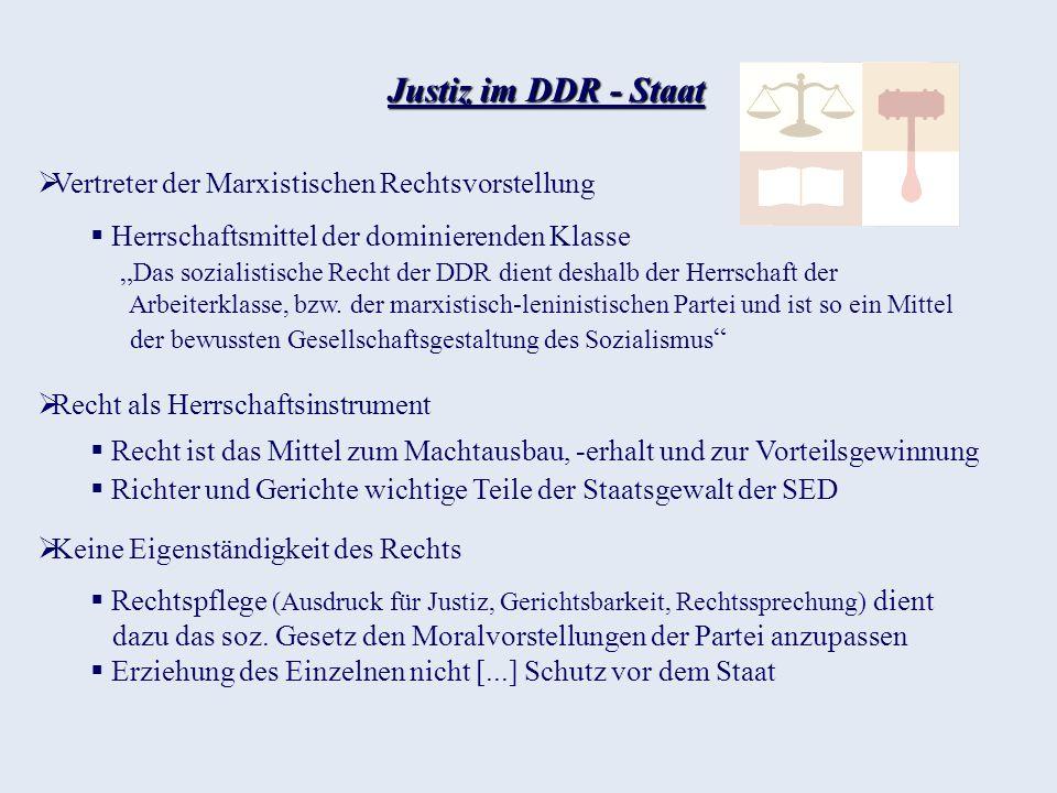 Justiz im DDR - Staat Vertreter der Marxistischen Rechtsvorstellung
