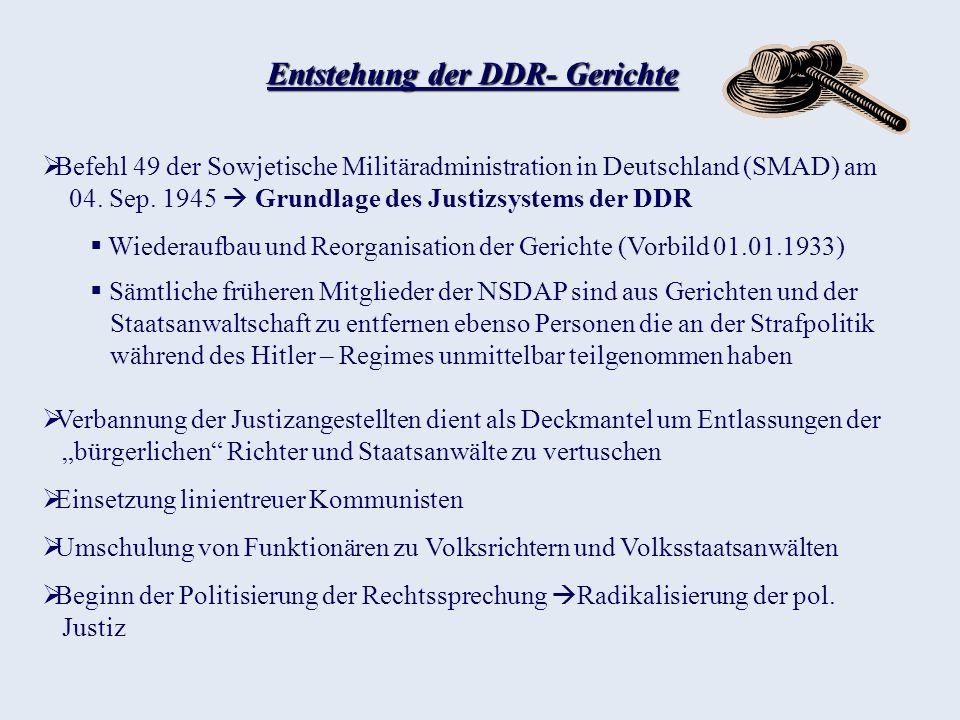 Entstehung der DDR- Gerichte