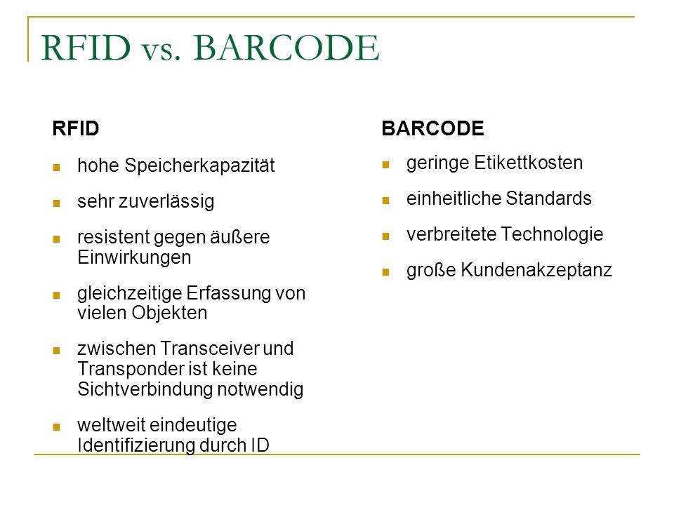 RFID vs. BARCODE RFID BARCODE hohe Speicherkapazität