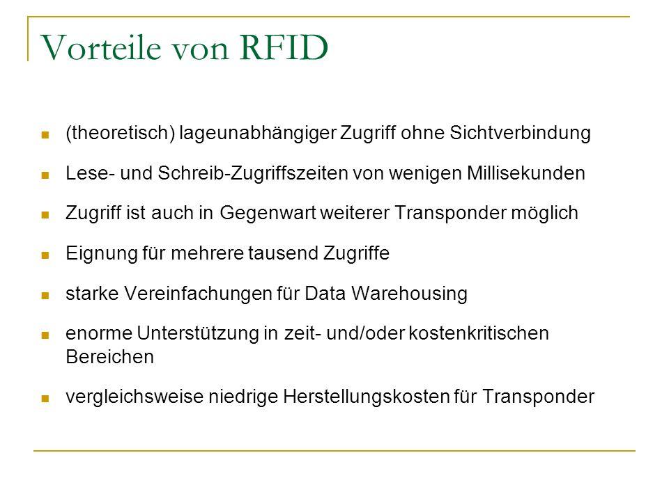 Vorteile von RFID (theoretisch) lageunabhängiger Zugriff ohne Sichtverbindung. Lese- und Schreib-Zugriffszeiten von wenigen Millisekunden.