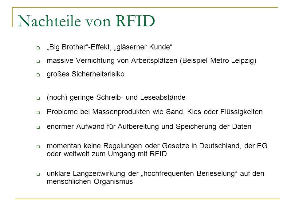 """Nachteile von RFID """"Big Brother -Effekt, """"gläserner Kunde"""