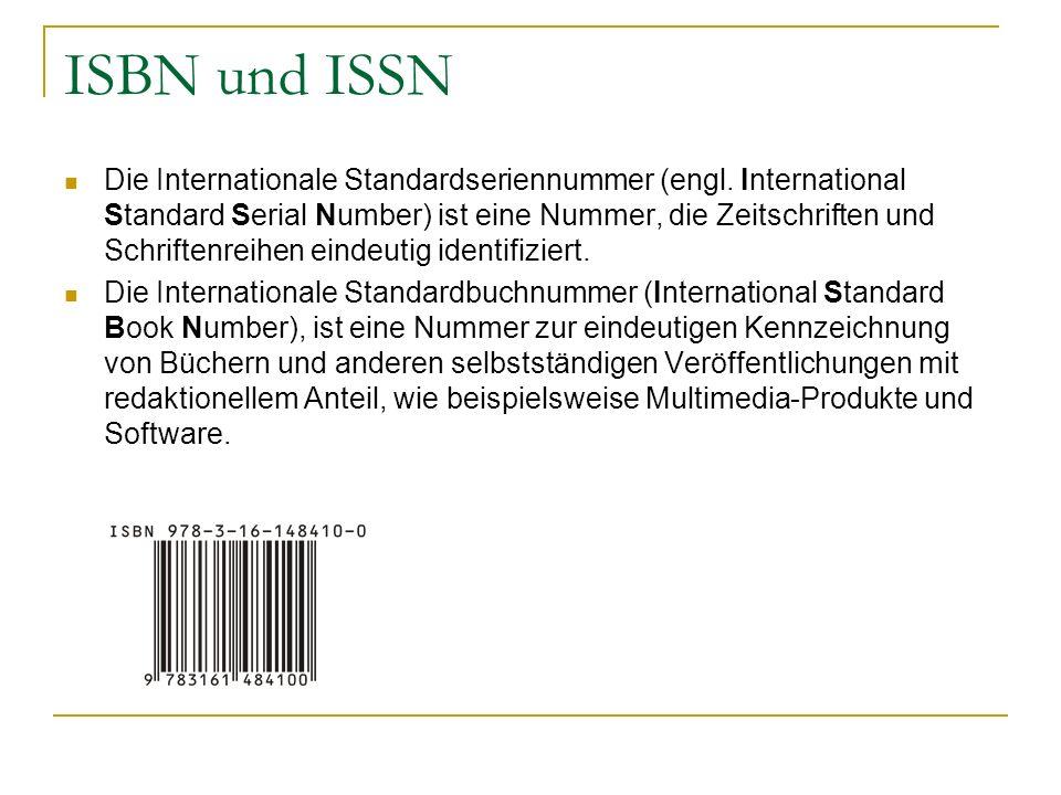 ISBN und ISSN