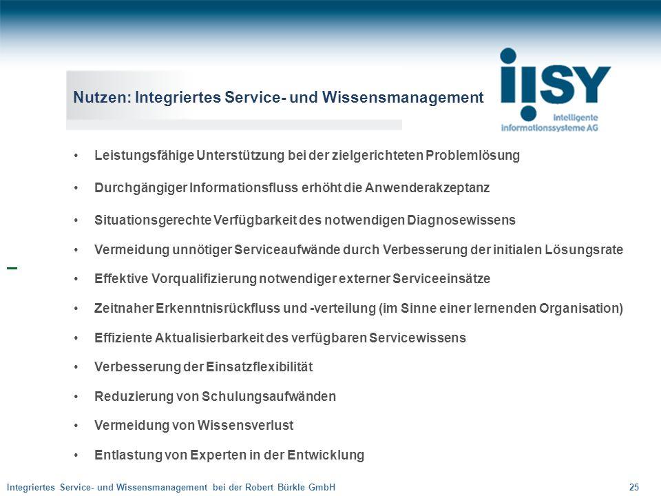 Nutzen: Integriertes Service- und Wissensmanagement