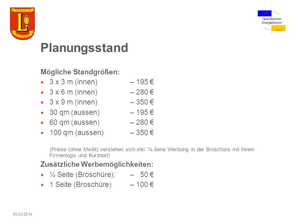 Planungsstand Mögliche Standgrößen: 3 x 3 m (innen) – 195 €