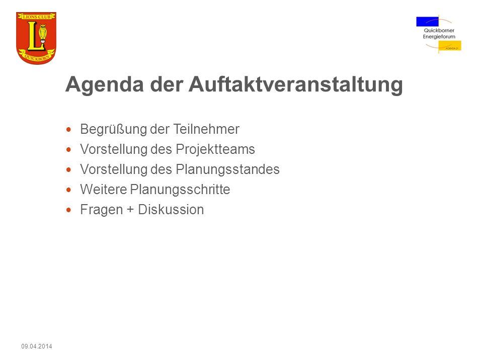 Agenda der Auftaktveranstaltung