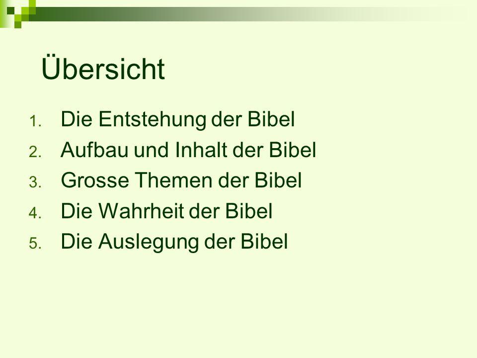 Übersicht Die Entstehung der Bibel Aufbau und Inhalt der Bibel
