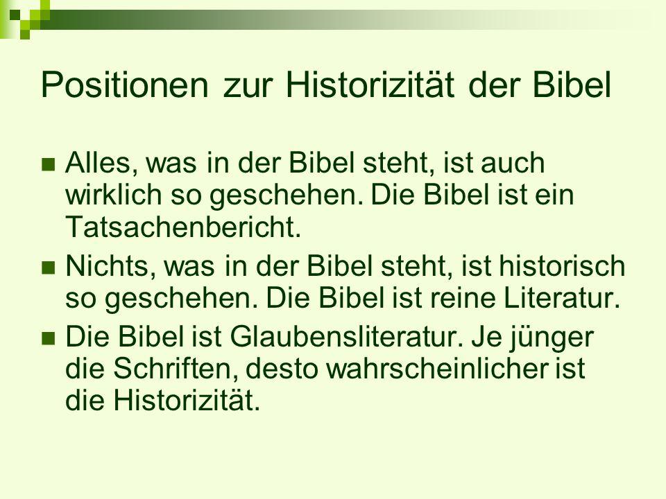 Positionen zur Historizität der Bibel