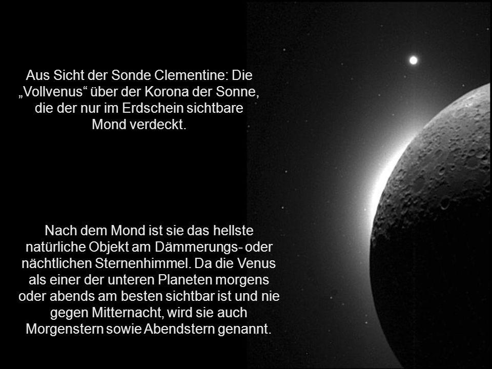 """Aus Sicht der Sonde Clementine: Die """"Vollvenus über der Korona der Sonne, die der nur im Erdschein sichtbare Mond verdeckt."""