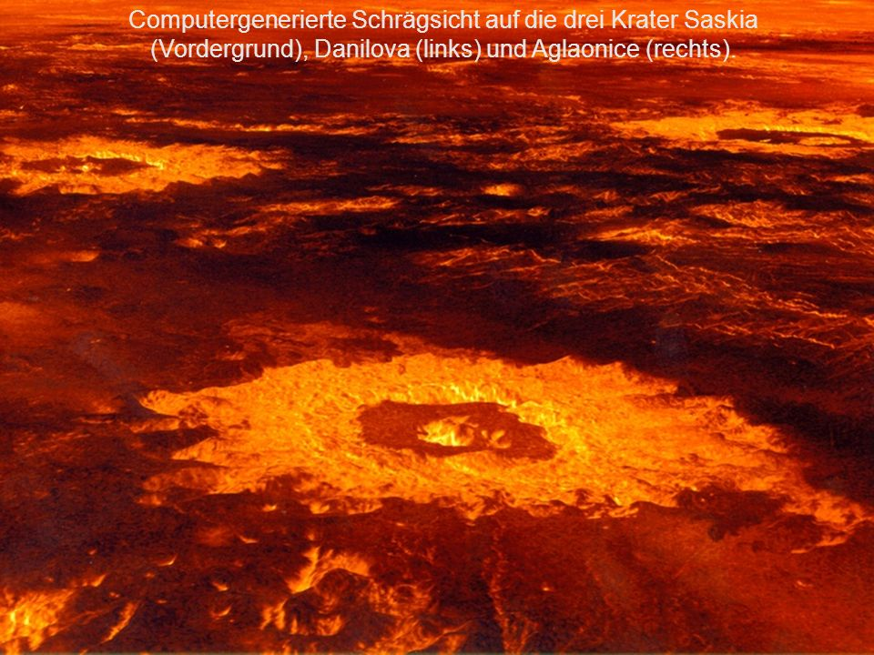 Computergenerierte Schrägsicht auf die drei Krater Saskia (Vordergrund), Danilova (links) und Aglaonice (rechts).