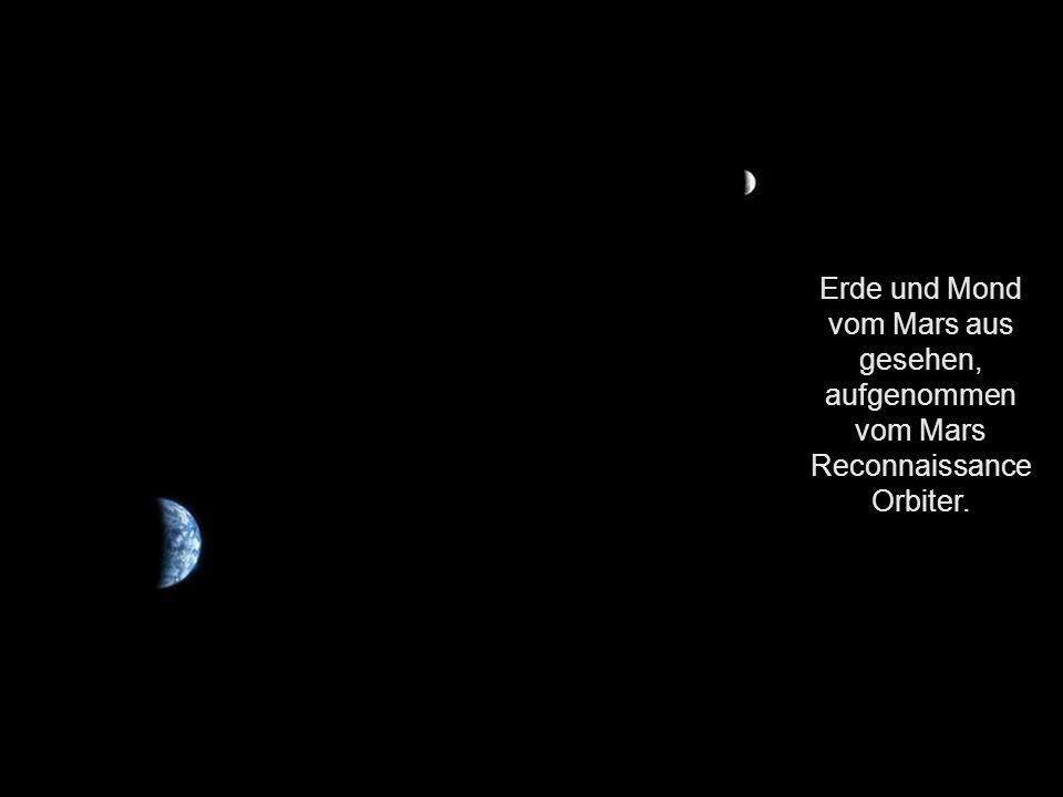 Erde und Mond vom Mars aus gesehen, aufgenommen vom Mars Reconnaissance Orbiter.