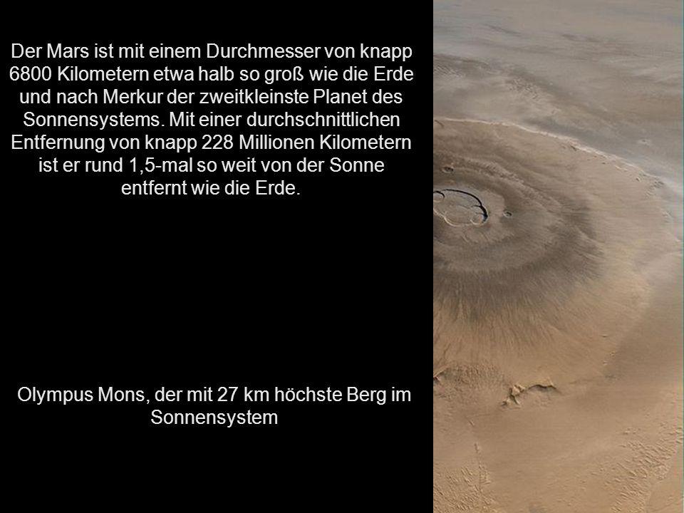 Olympus Mons, der mit 27 km höchste Berg im Sonnensystem