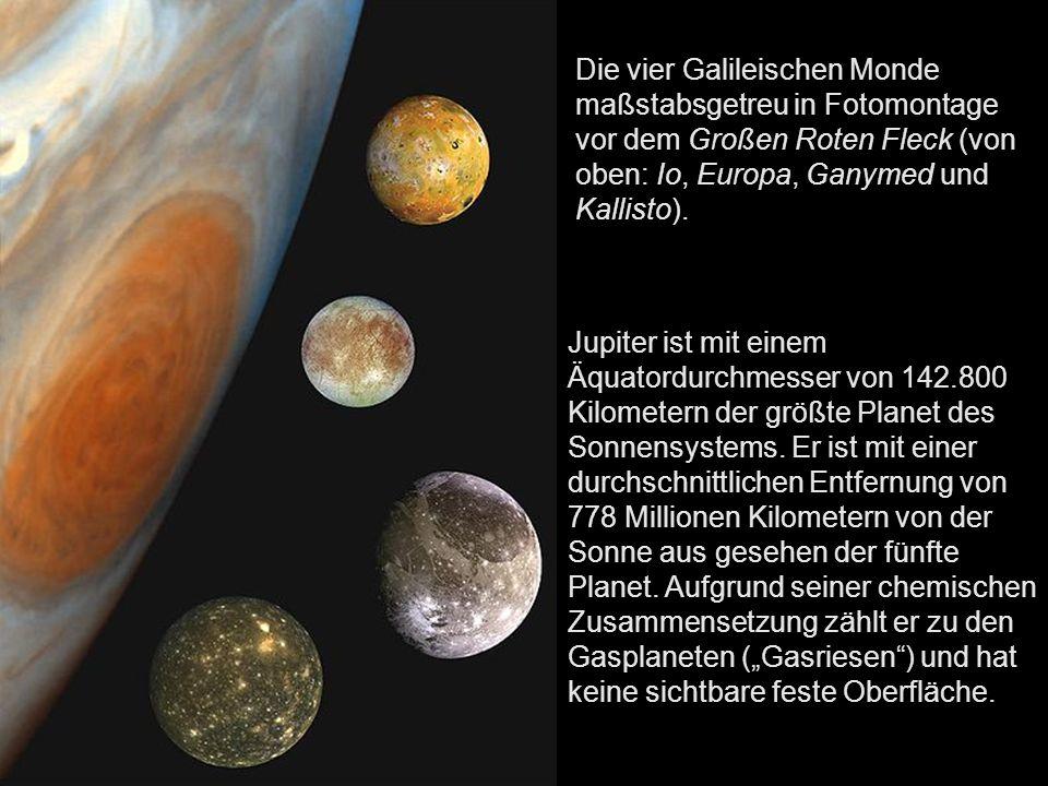 Die vier Galileischen Monde maßstabsgetreu in Fotomontage vor dem Großen Roten Fleck (von oben: Io, Europa, Ganymed und Kallisto).