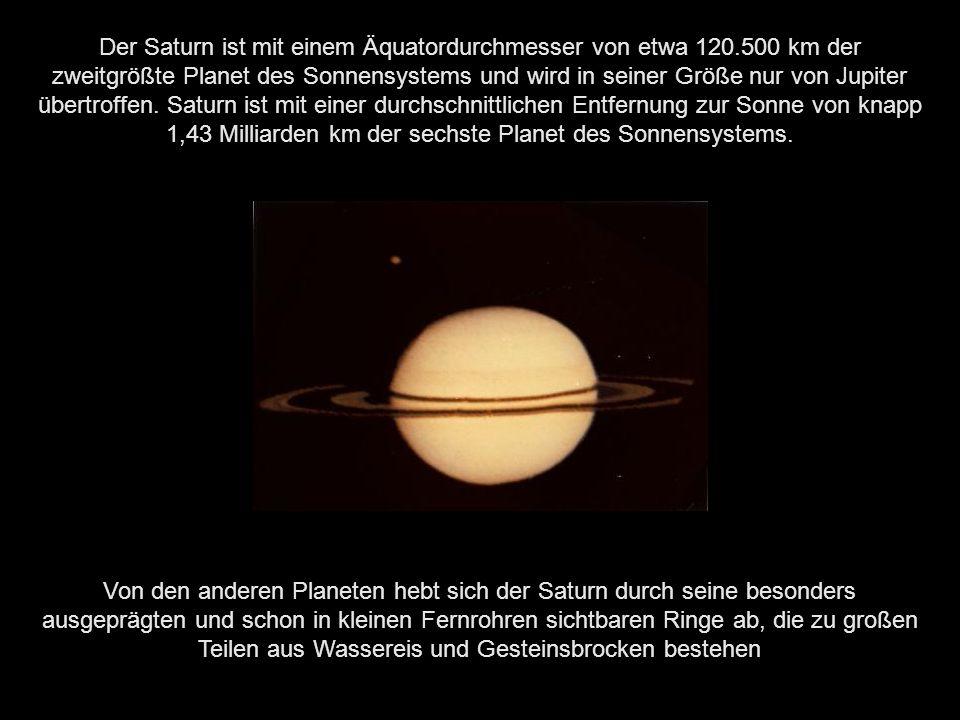 Der Saturn ist mit einem Äquatordurchmesser von etwa 120
