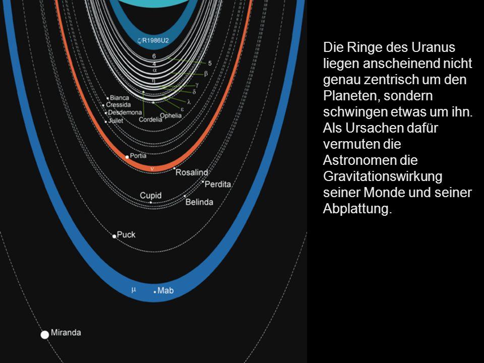 Die Ringe des Uranus liegen anscheinend nicht genau zentrisch um den Planeten, sondern schwingen etwas um ihn.