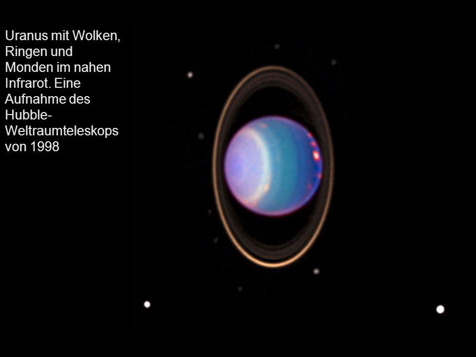 Uranus mit Wolken, Ringen und Monden im nahen Infrarot