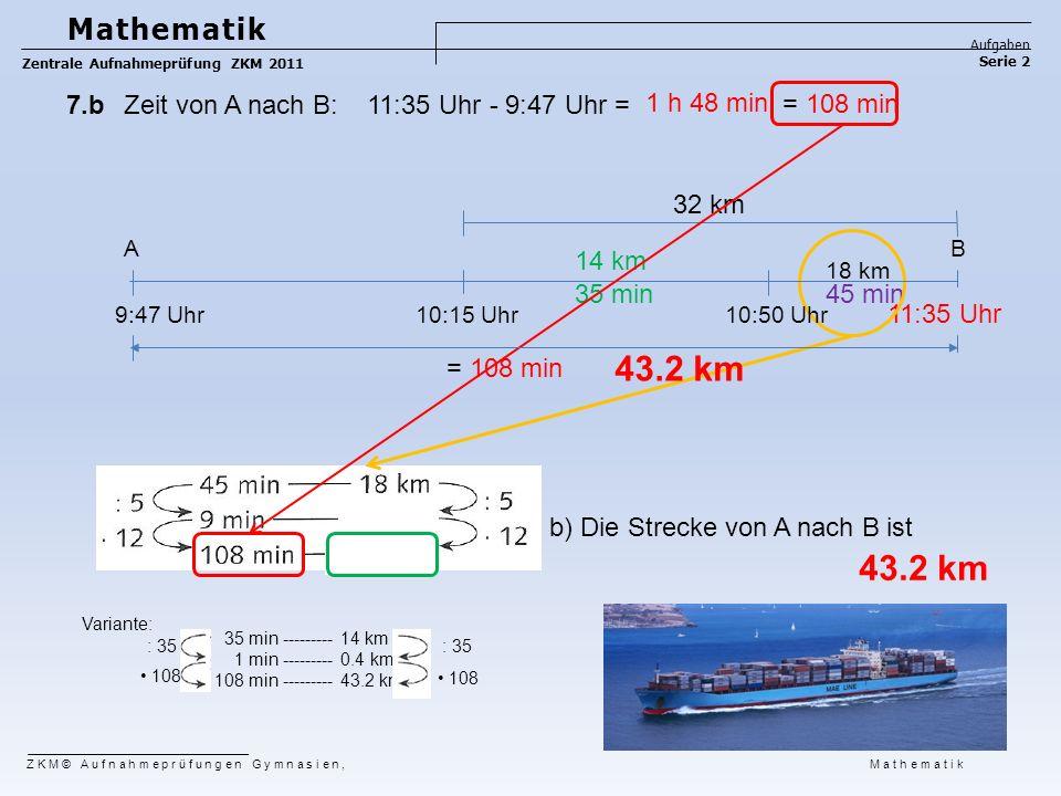 Mathematik Aufgaben. Zentrale Aufnahmeprüfung ZKM 2011. Serie 2. 7.b Zeit von A nach B: 11:35 Uhr - 9:47 Uhr =