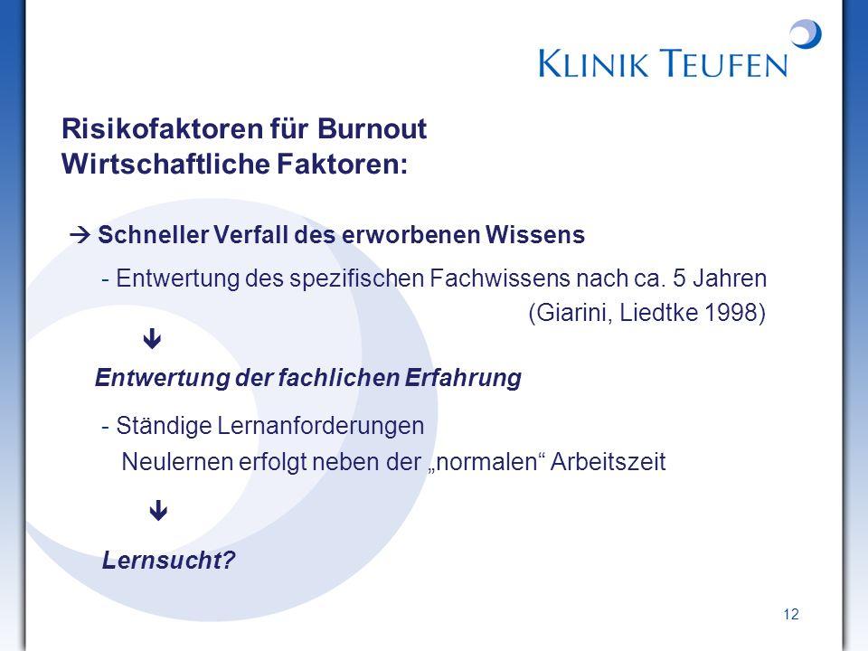 Risikofaktoren für Burnout Wirtschaftliche Faktoren:
