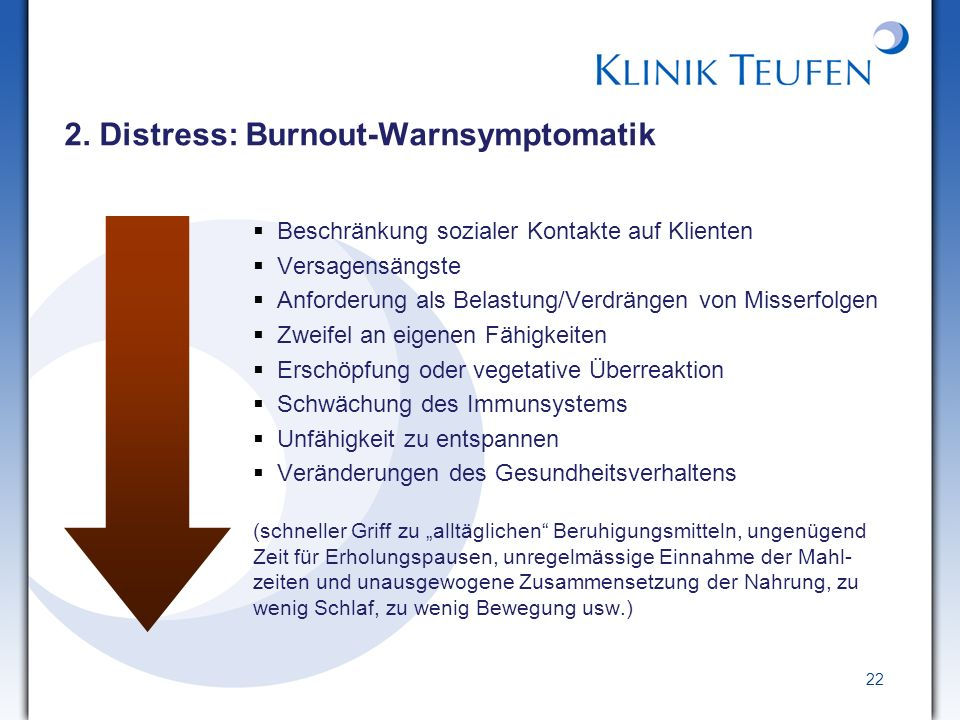2. Distress: Burnout-Warnsymptomatik