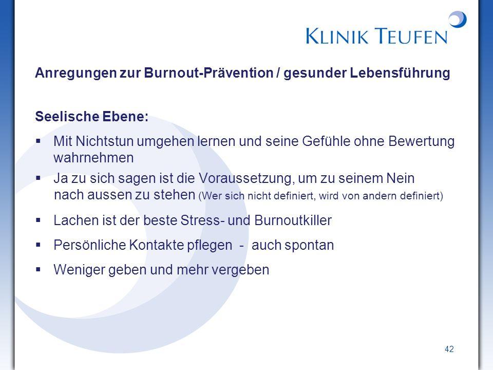 Anregungen zur Burnout-Prävention / gesunder Lebensführung