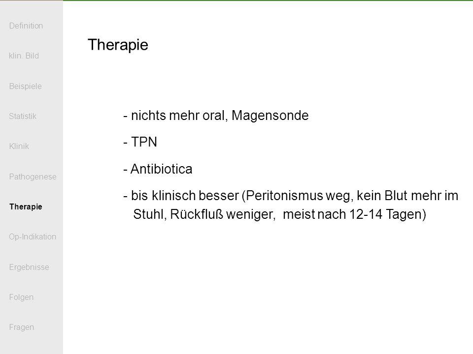 Therapie nichts mehr oral, Magensonde TPN Antibiotica