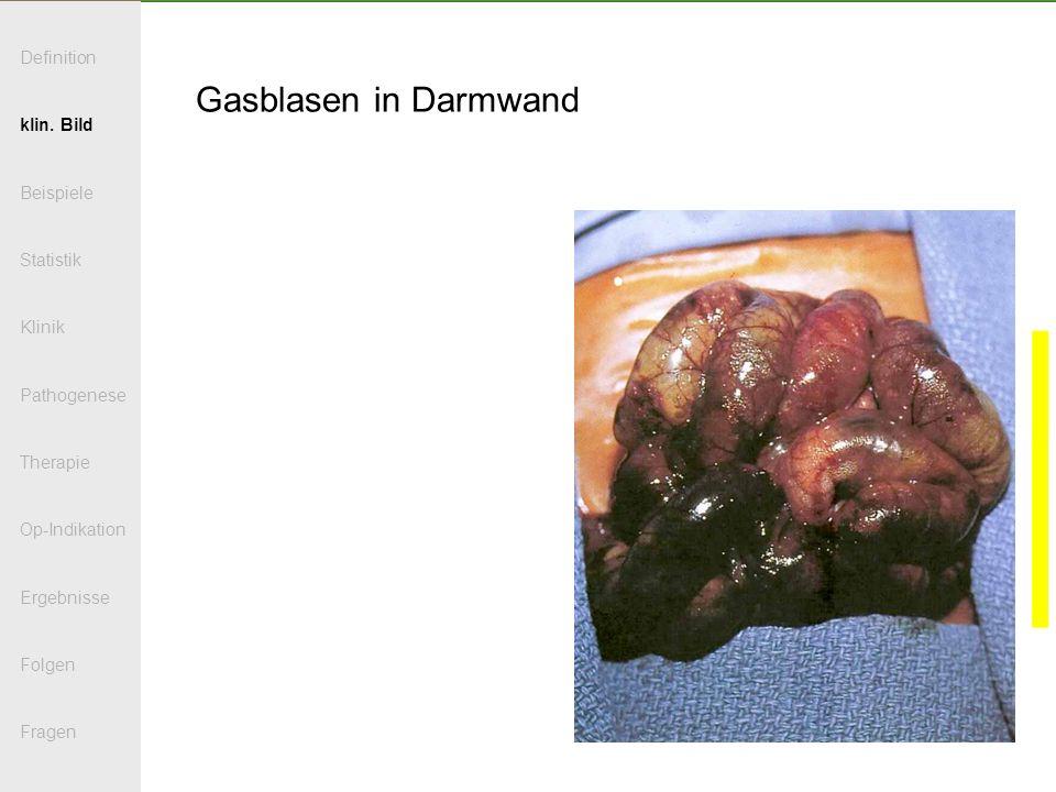 Gasblasen in Darmwand Definition klin. Bild Beispiele Statistik Klinik