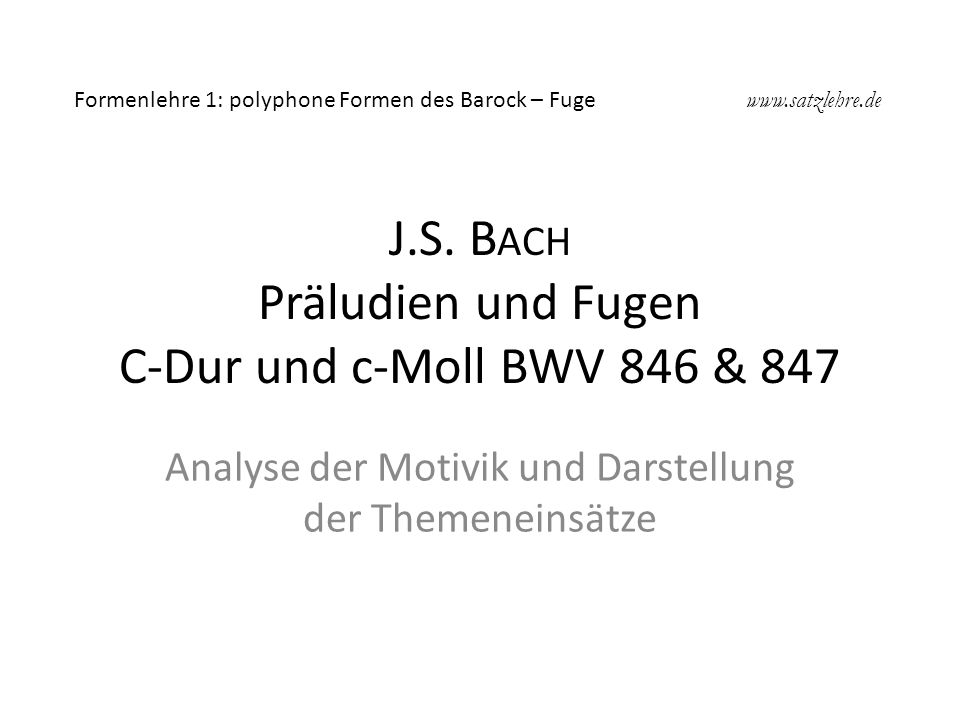 J.S. Bach Präludien und Fugen C-Dur und c-Moll BWV 846 & 847