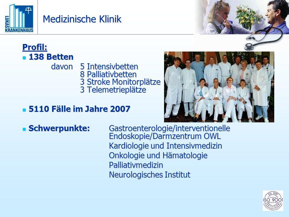 Medizinische Klinik Profil: 138 Betten