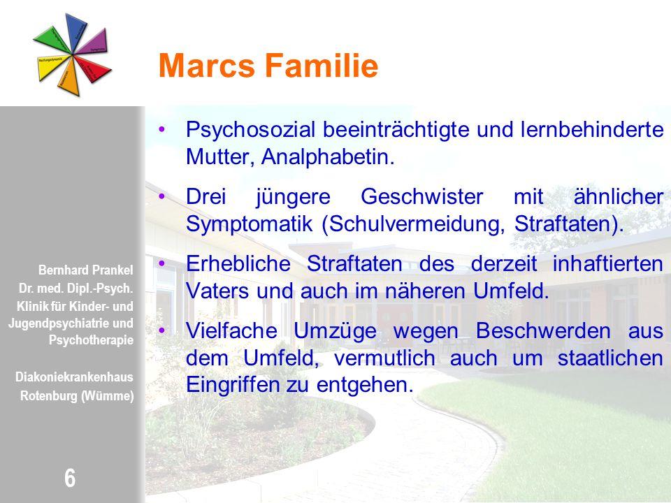 Marcs Familie Psychosozial beeinträchtigte und lernbehinderte Mutter, Analphabetin.