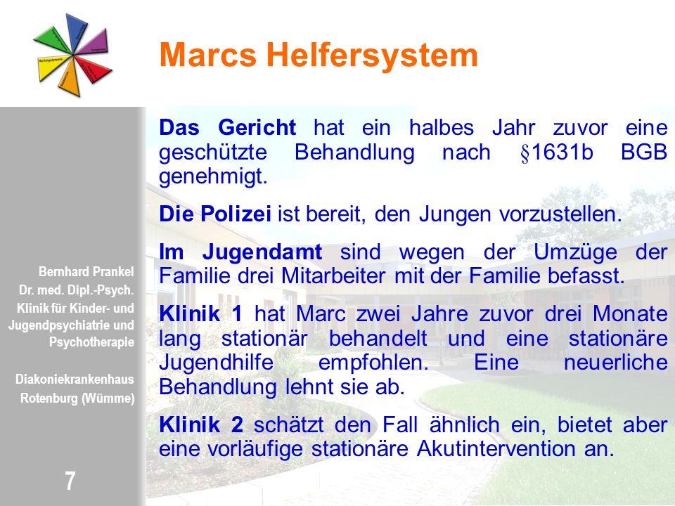 Marcs Helfersystem Das Gericht hat ein halbes Jahr zuvor eine geschützte Behandlung nach §1631b BGB genehmigt.
