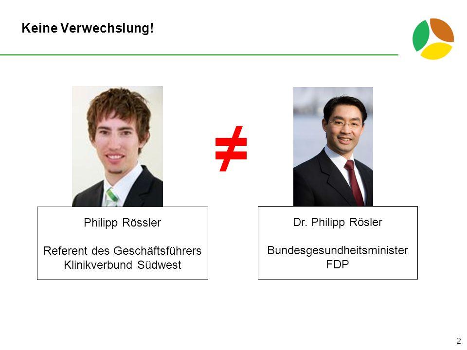 ≠ Keine Verwechslung! Philipp Rössler Dr. Philipp Rösler