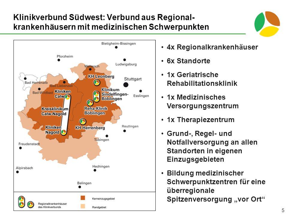 Klinikverbund Südwest: Verbund aus Regional- krankenhäusern mit medizinischen Schwerpunkten