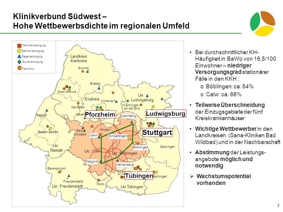 Klinikverbund Südwest – Hohe Wettbewerbsdichte im regionalen Umfeld