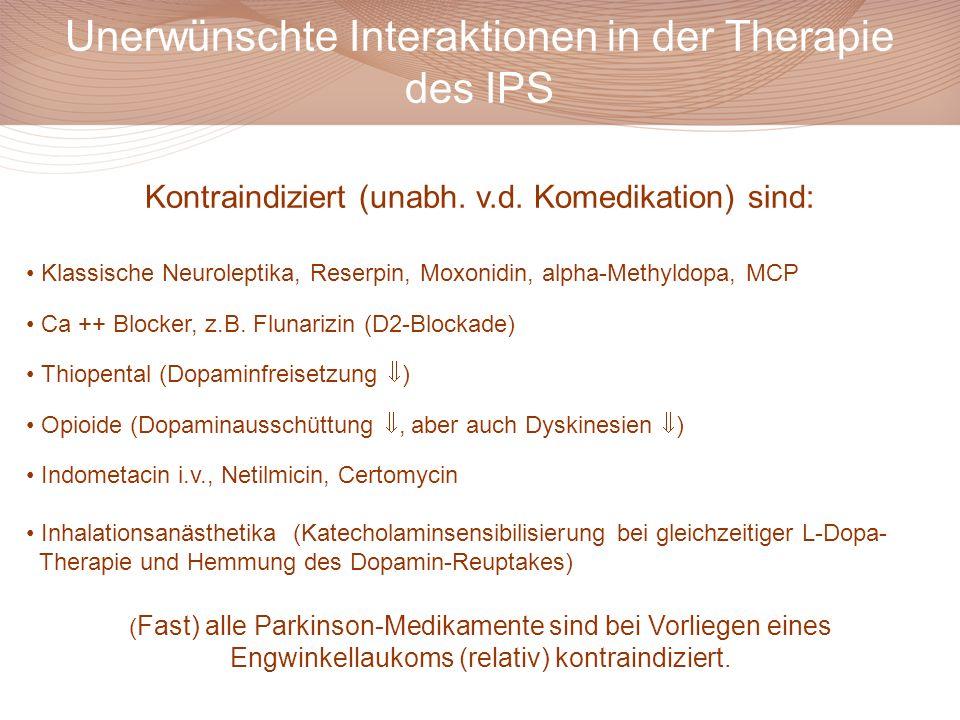 Unerwünschte Interaktionen in der Therapie des IPS