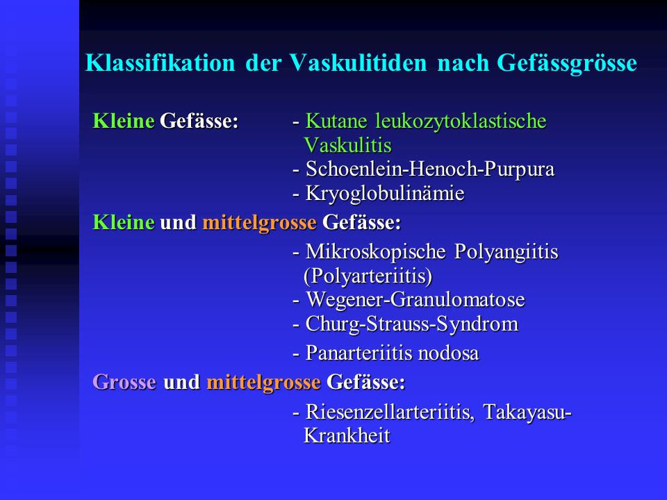 Klassifikation der Vaskulitiden nach Gefässgrösse