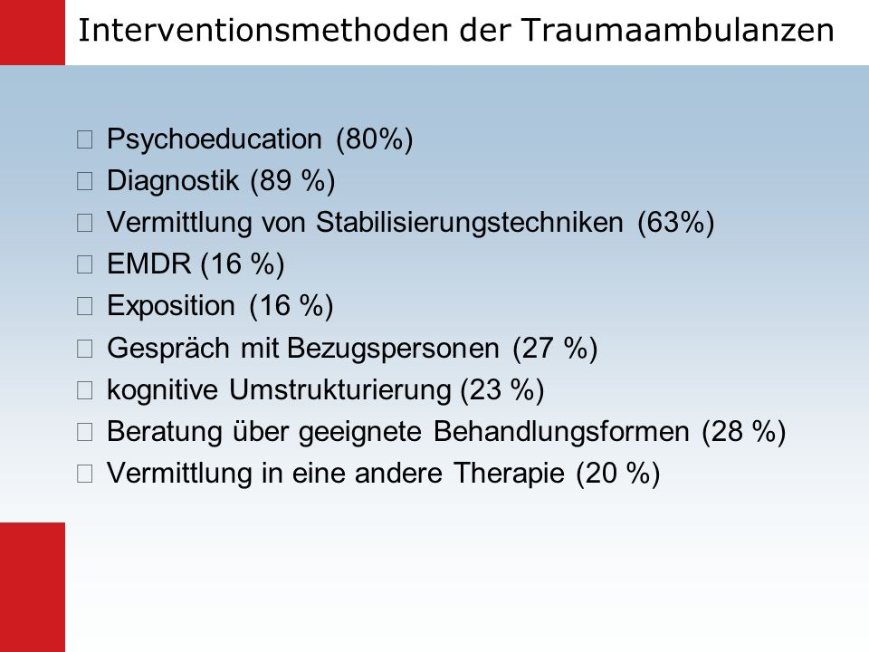 Interventionsmethoden der Traumaambulanzen