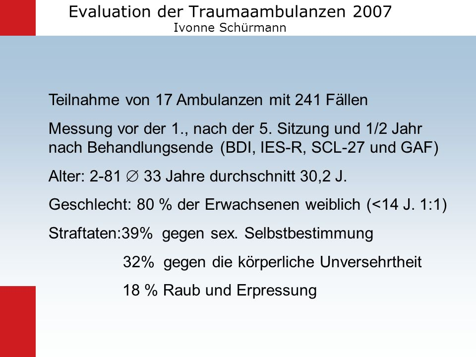 Evaluation der Traumaambulanzen 2007 Ivonne Schürmann
