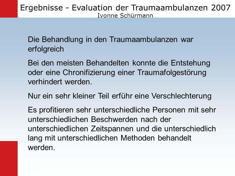 Ergebnisse - Evaluation der Traumaambulanzen 2007 Ivonne Schürmann